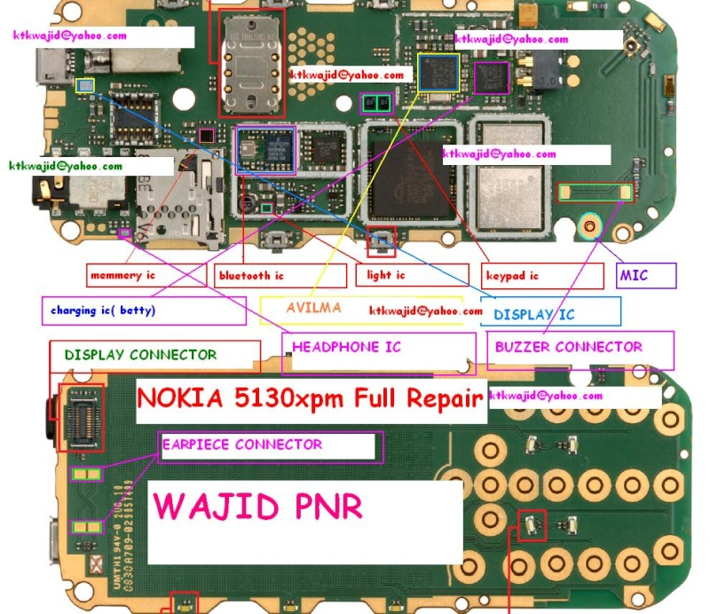 nokia 5130 full pcb motherboard layout diagram