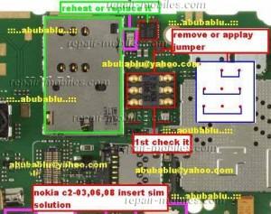 Nokia C2-08, C2-06, C2-03 Insert SIM IC Jumper
